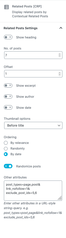 Gutenberg block - Settings sidebar