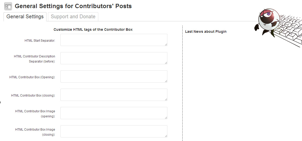 Show Contributors Posts Settings page for personalizze your HTML div contributor box and others
