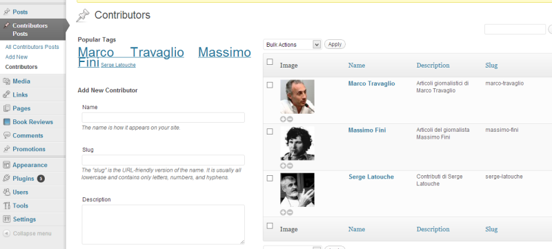 Show of Admin List of Contributors ( with plugin 'Taxonomy Images' active )