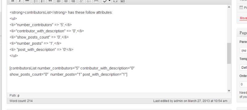 Show the Page edit with the shortcode for show the lists of Contributors and Posts