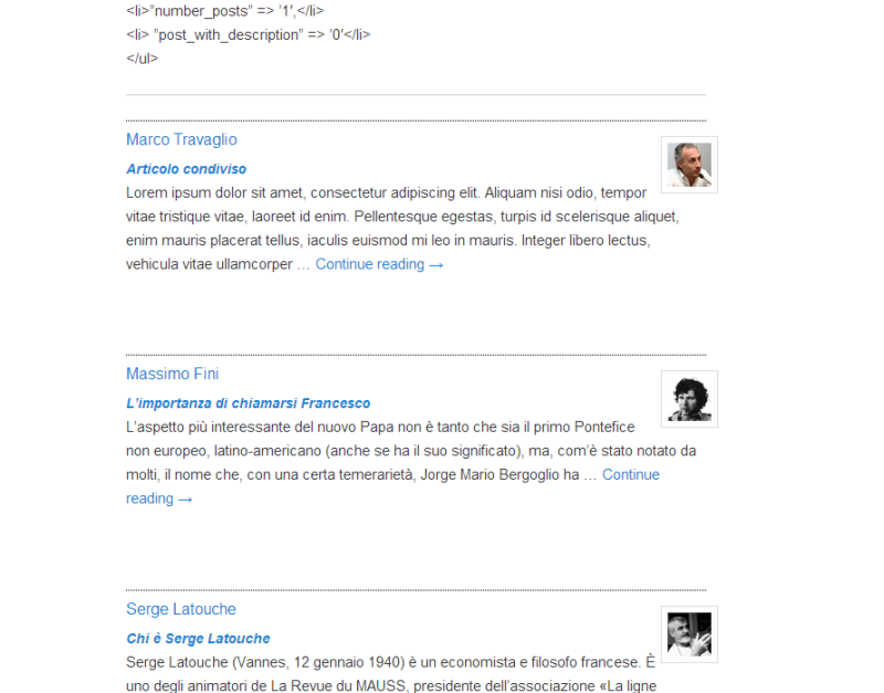 Show the Page view with the shortcode for show the lists of Contributors and Posts