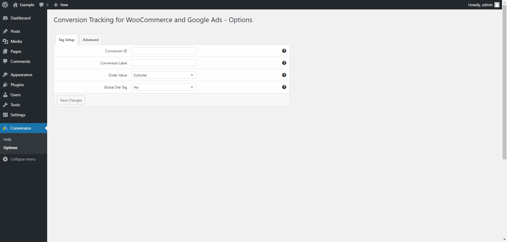 "Options menu in the ""Tag Setup"" tab"