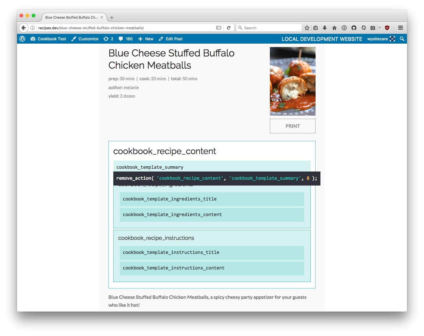Cookbook Recipe View with Hook Guide Enabled.