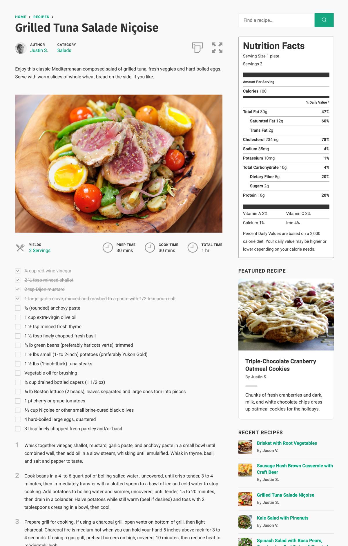 Cooked Recipe Plugin Wordpress
