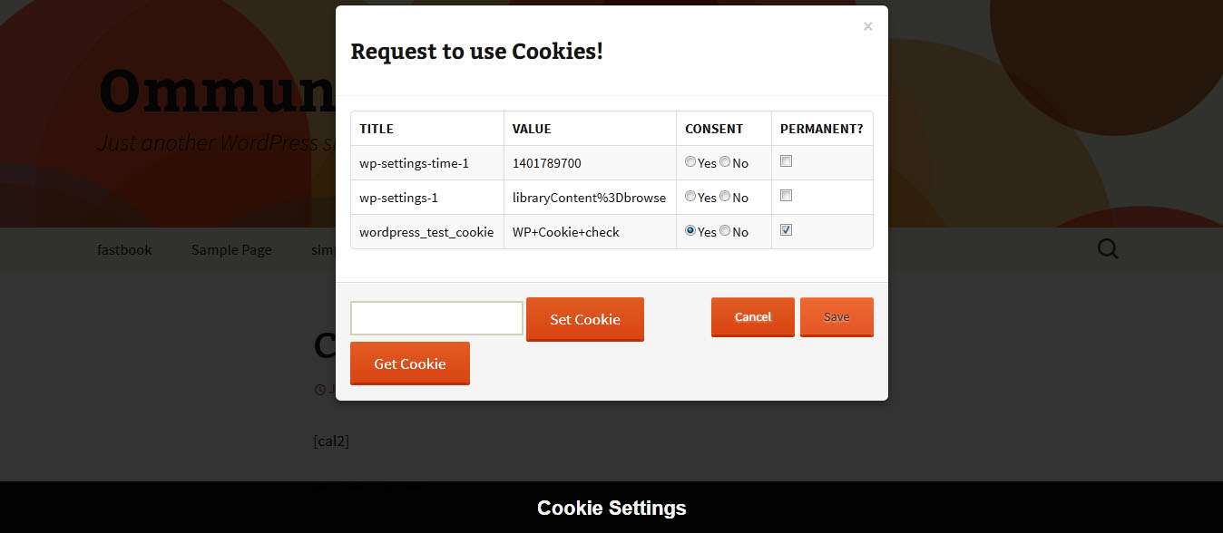 It allows users to set cookies or get cookies from web site by clicking on 'Set Cookie' for set cookies and 'Get Cookie' for get cookies.