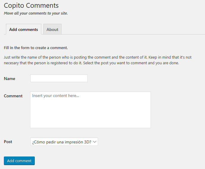 <p>Comment Editor</p>