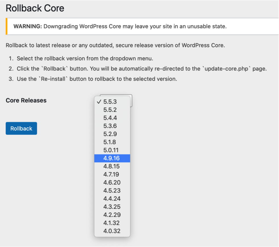 Rollback Core action dropdown