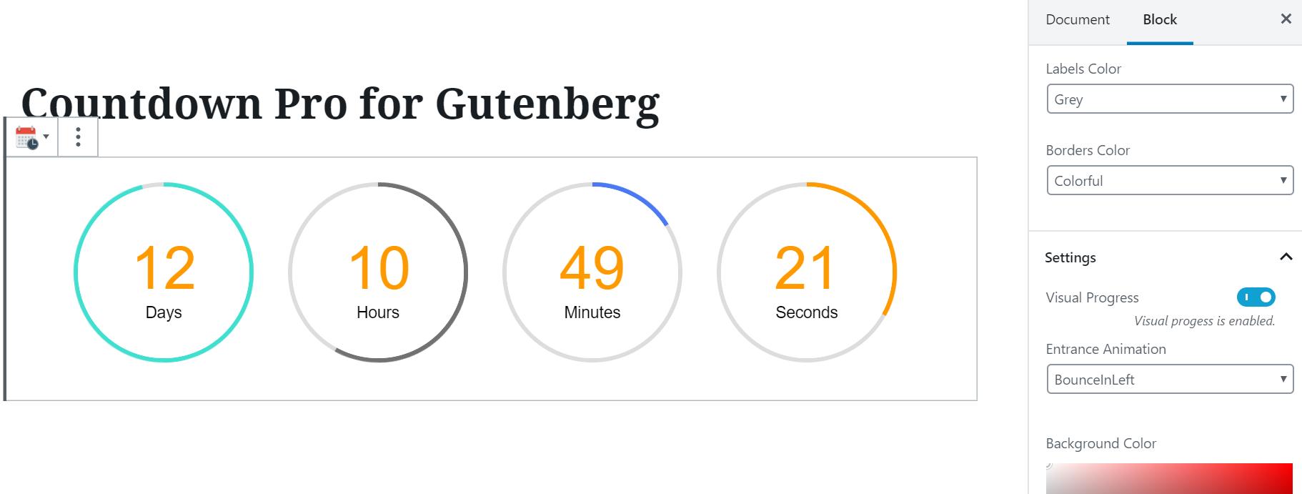Countdown block settings