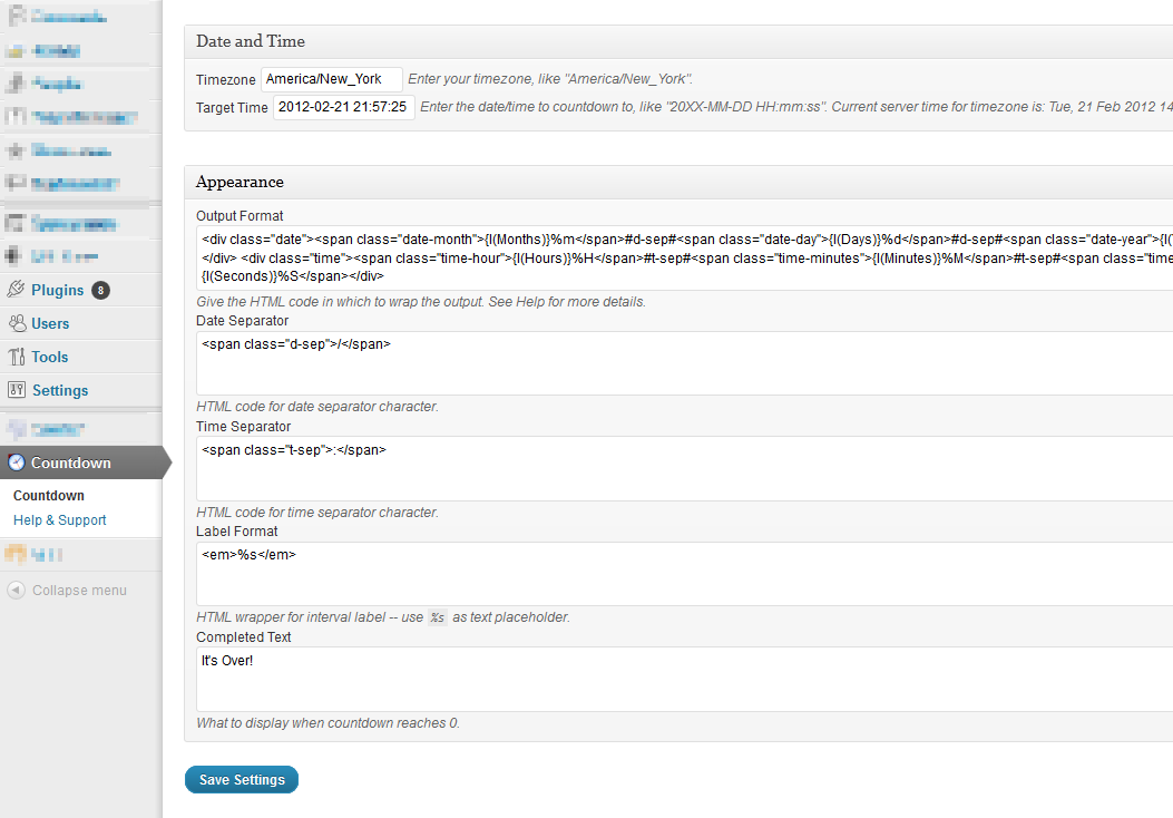 Admin options page with templates, placeholders