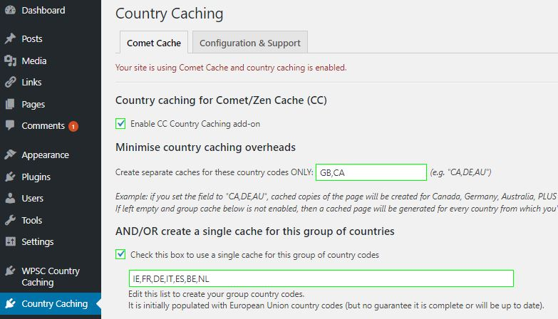 Simple set up. Dashboard->Settings->Country Caching