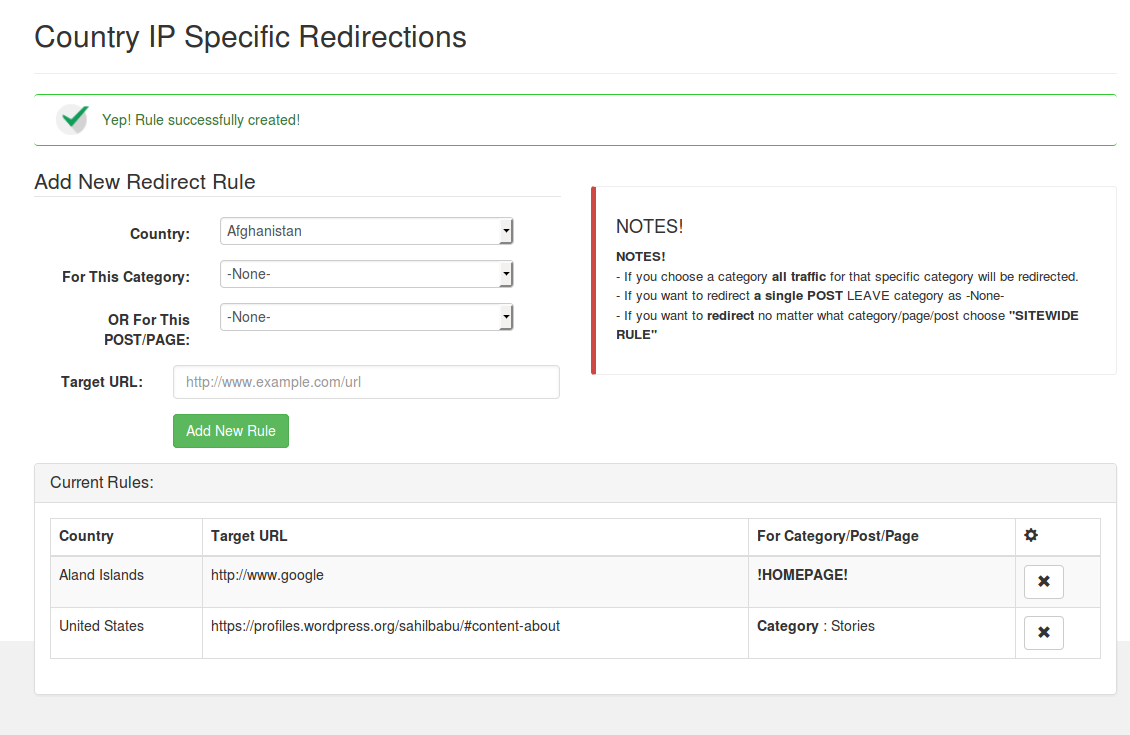 Country IP Specific Redirections Rules