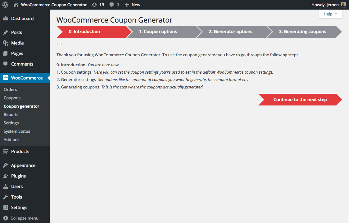 coupon generator for woocommerce wordpress plugins start of generating coupons