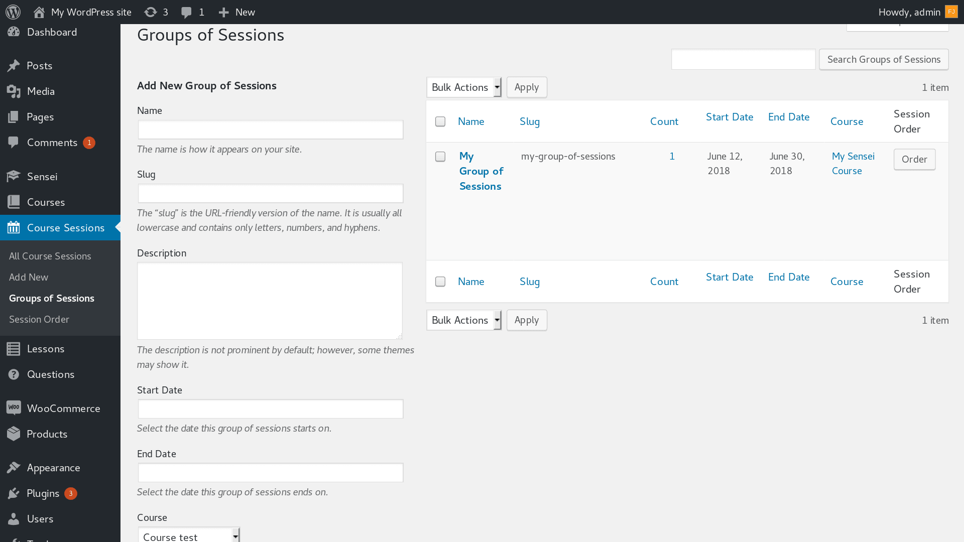 Group of Sessions screen. Add and manage Group of Sessions.
