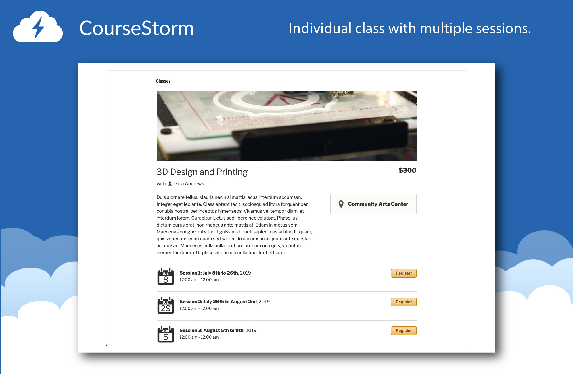 Website Individual Class with Multiple Sessions: Show your students all their options for class sessions.