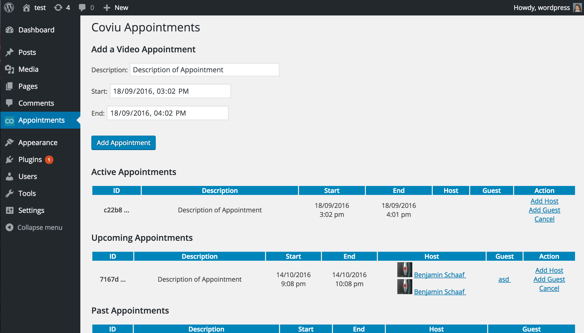 Screenshot2.png : the appointments page of the Coviu video calls WordPress plugin