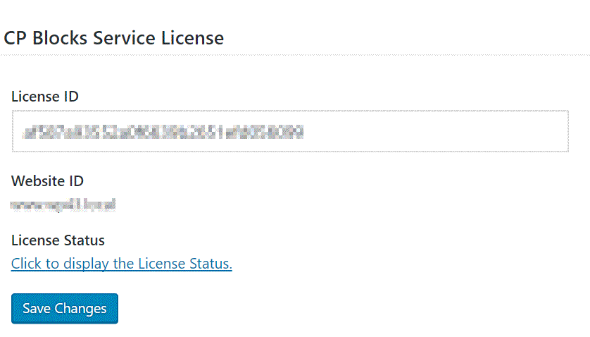 Settings page - entering a license.