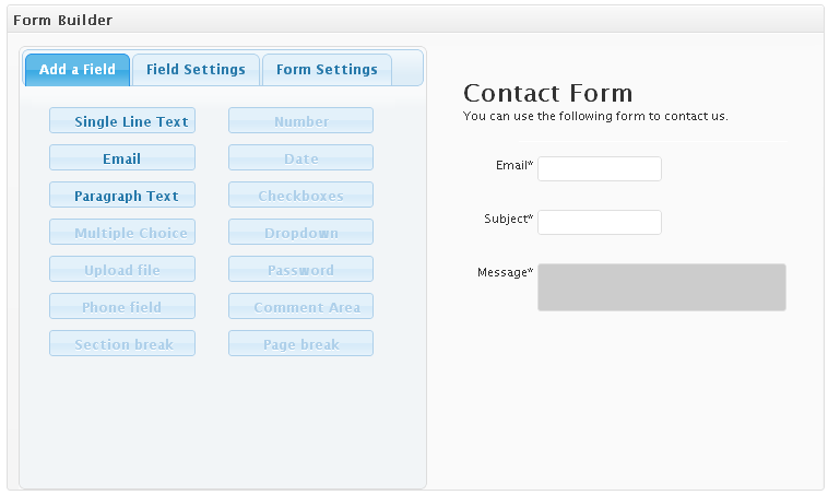 Adding fields to the contact form using the form creator