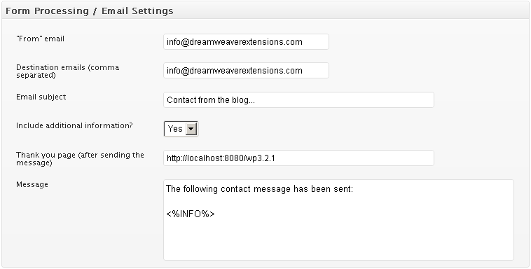 Contact form processing settings