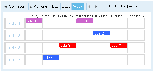 Advanced sample: Event calendar with custom information on rows