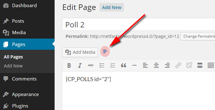 Inserting a poll form into a page