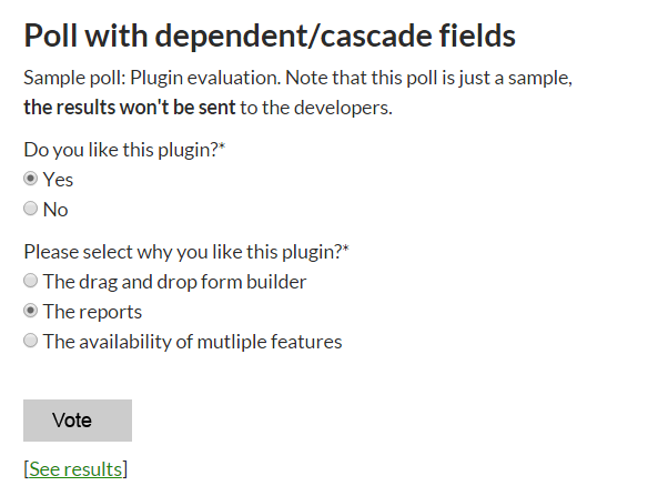 Sample multi-question dependant poll