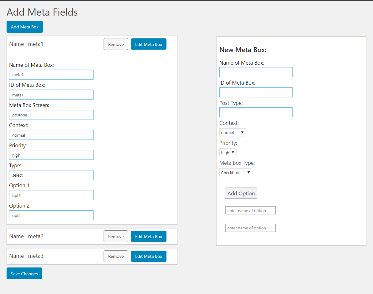 This screenshot shows the submenu page where your can add new metabox for any existing post type and see list of existing meta boxes through this plugin and also remove and edit them.