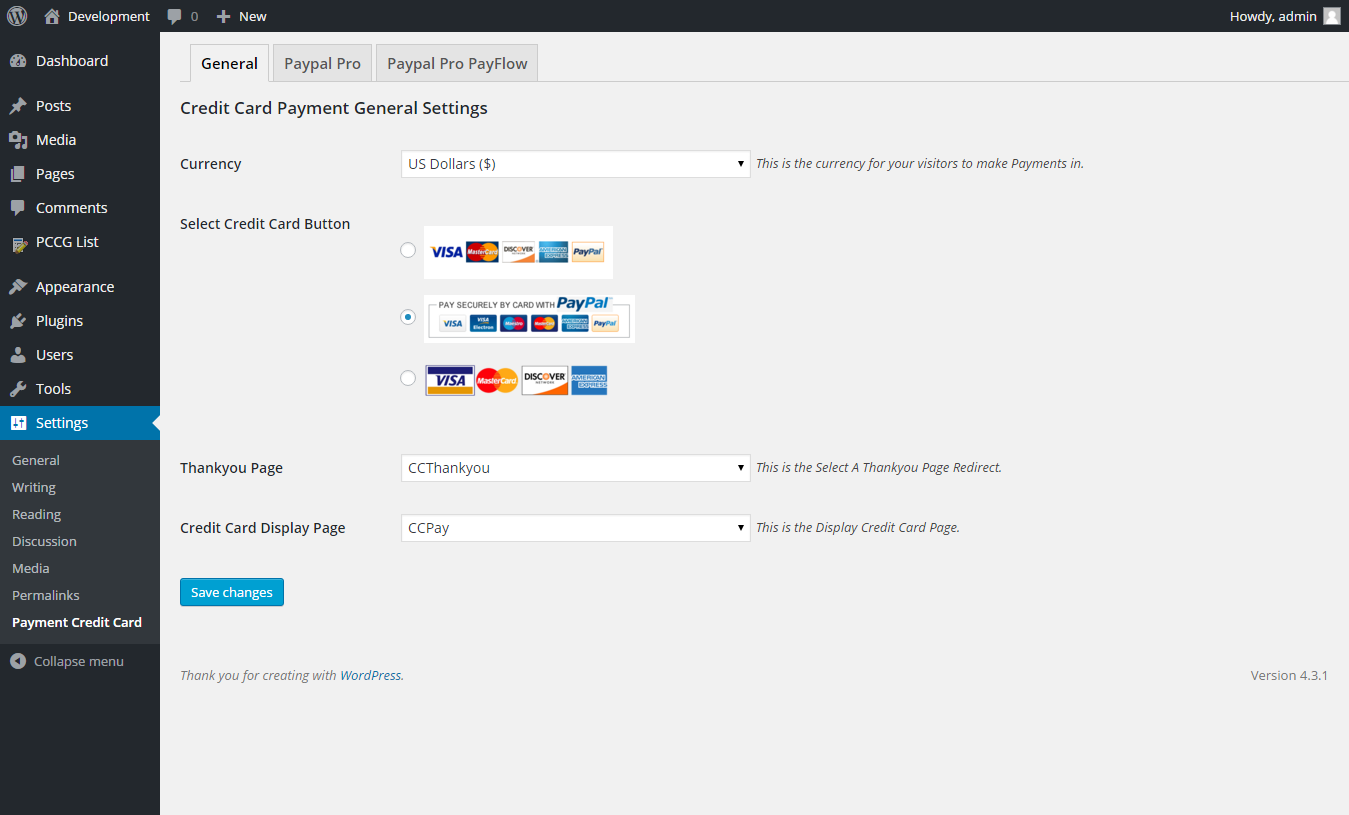 credit card payment form word