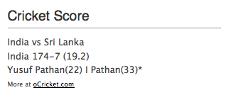 A simple display of Live Cricket Score on the Sidebar as a Widget.