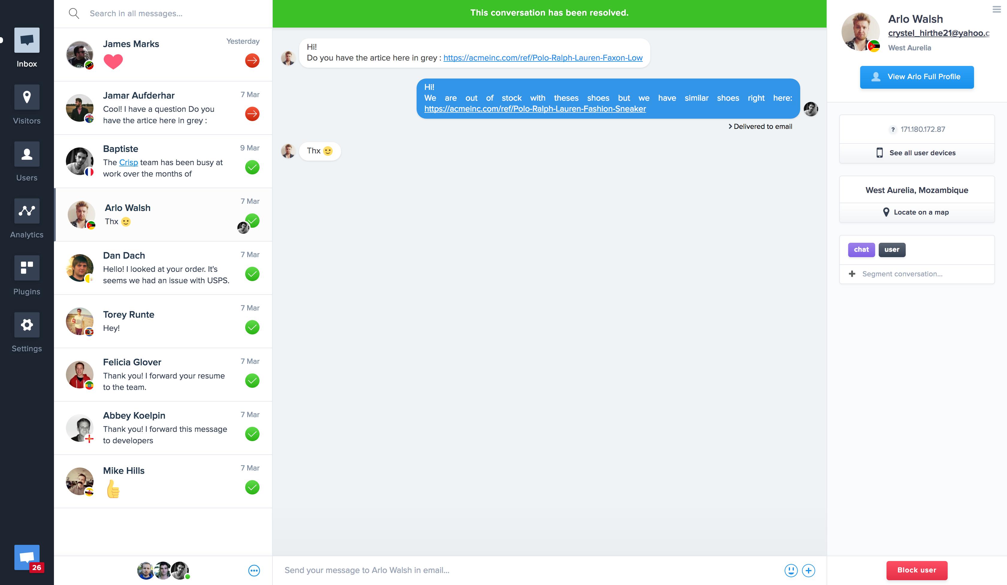 screenshot 1 - افزونه پشتیبانی آنلاین برای سایت   Crisp Live Chat