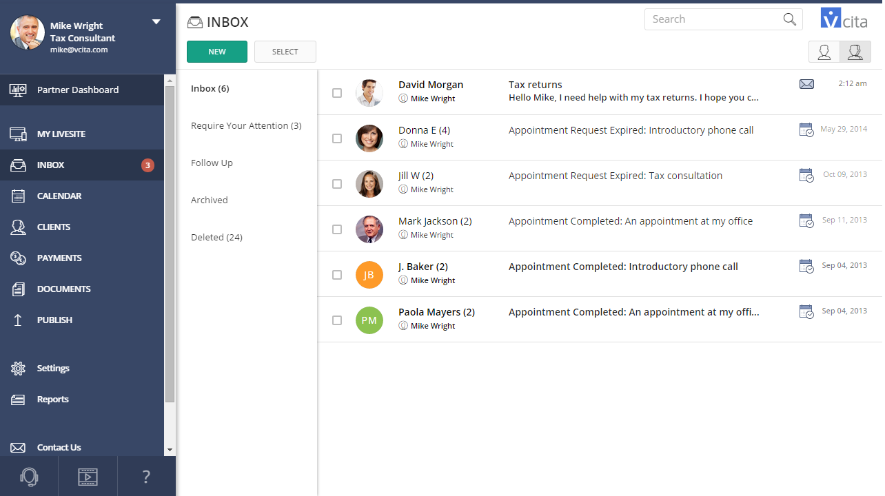 <strong>One Inbox for all communications</strong> - All communications are available in one simple Inbox, where you can also view complete communication history and mark client for follow-ups,