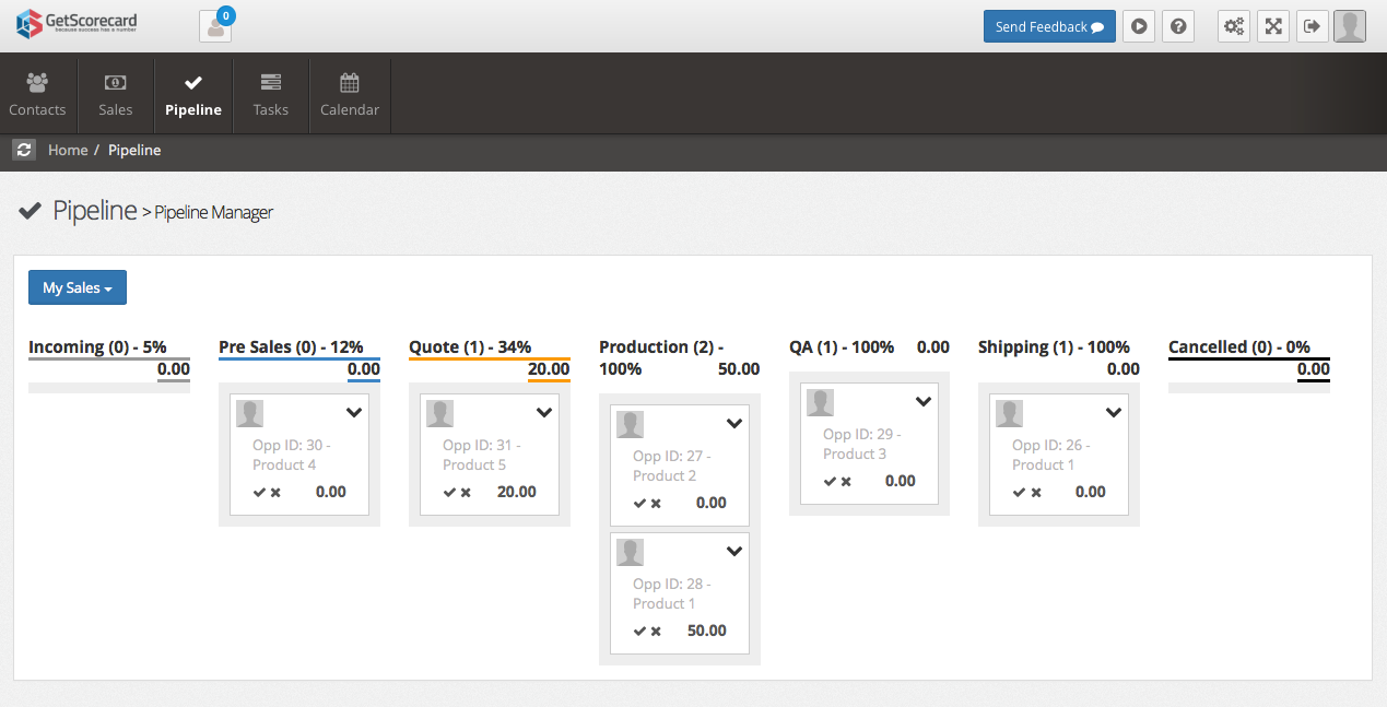 <p>GetScorecard Pipeline - Sales will appear in the pipeline so you can manage the order through Sales, Production and Shipping. Drag and Drop the orders through each stage.</p>