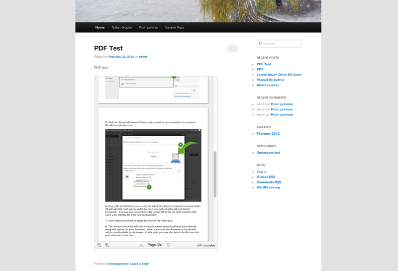 A PDF being displayed on a blog post using Crocodoc.