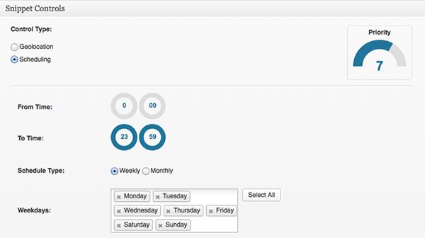 Cronblocks Weekly Scheduling Snippet Controls