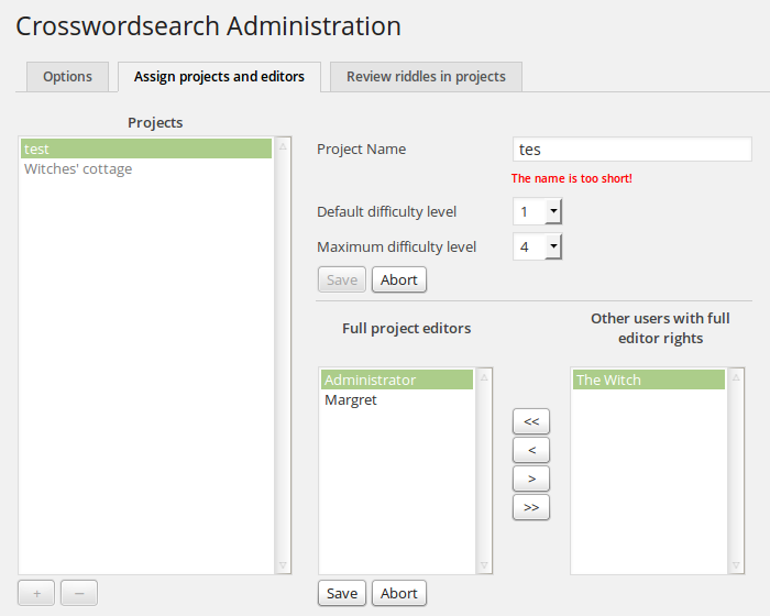 The <em>Assign projects and editors</em> tab