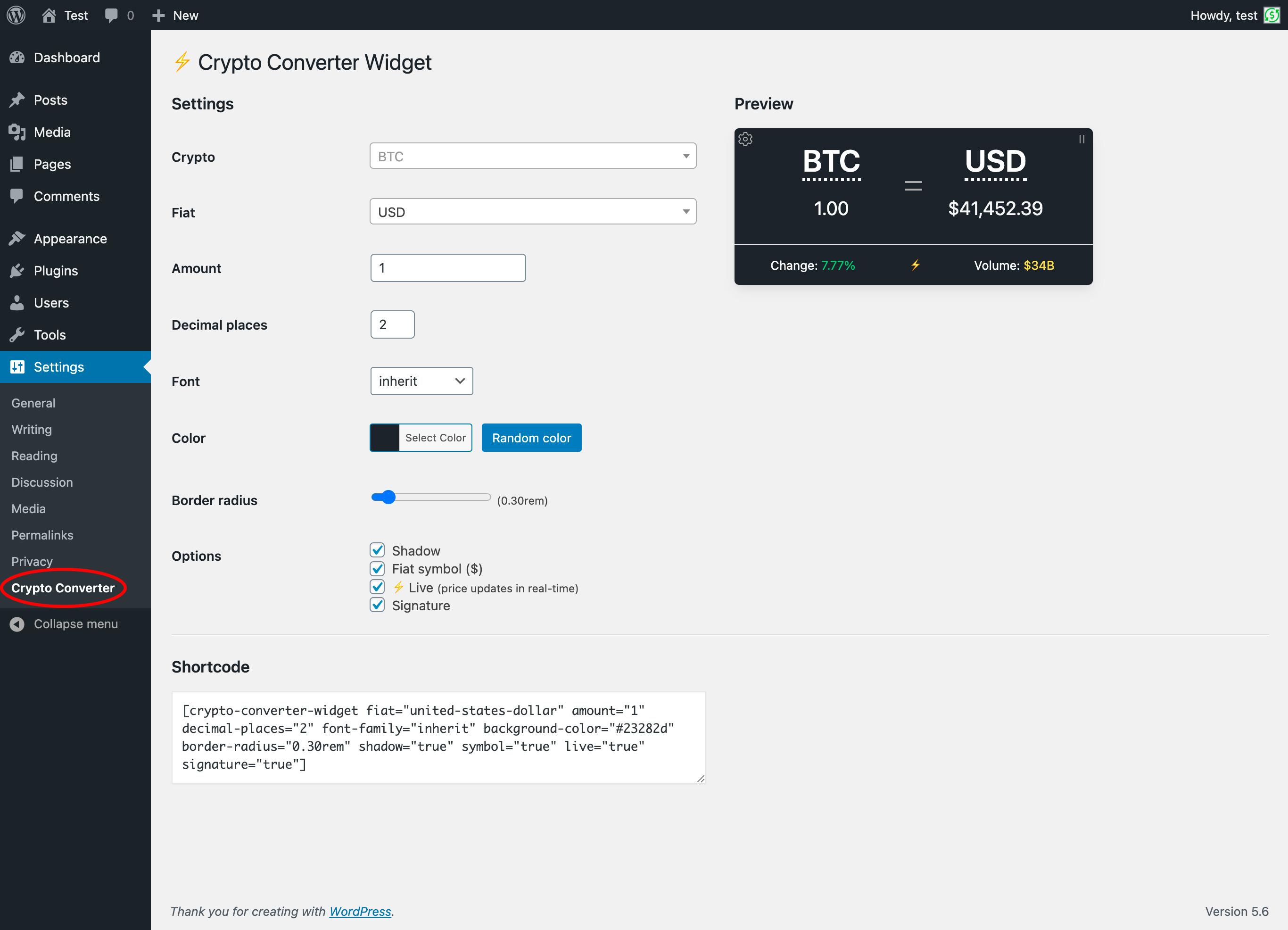 Crypto Converter ? Widget