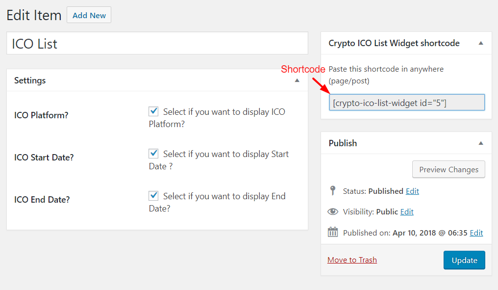 ICO List Shortcode Generator.