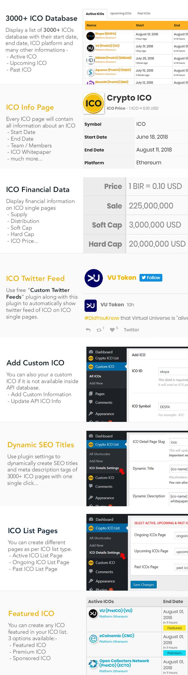 ICO List Widget PRO Features