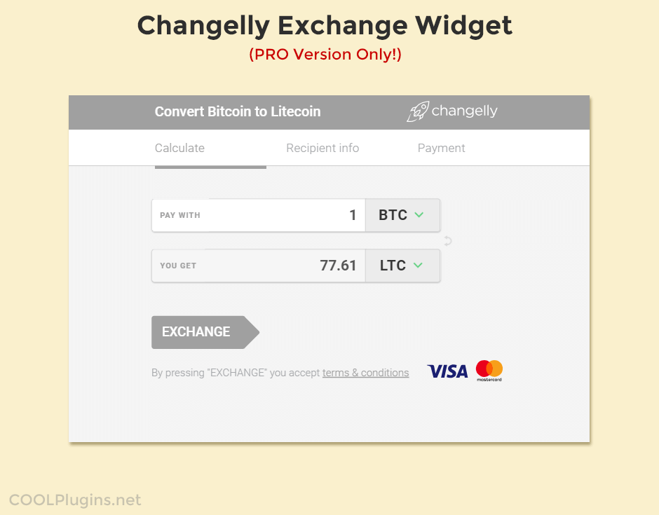 Changelly Cryptocurrency Exchange Widget