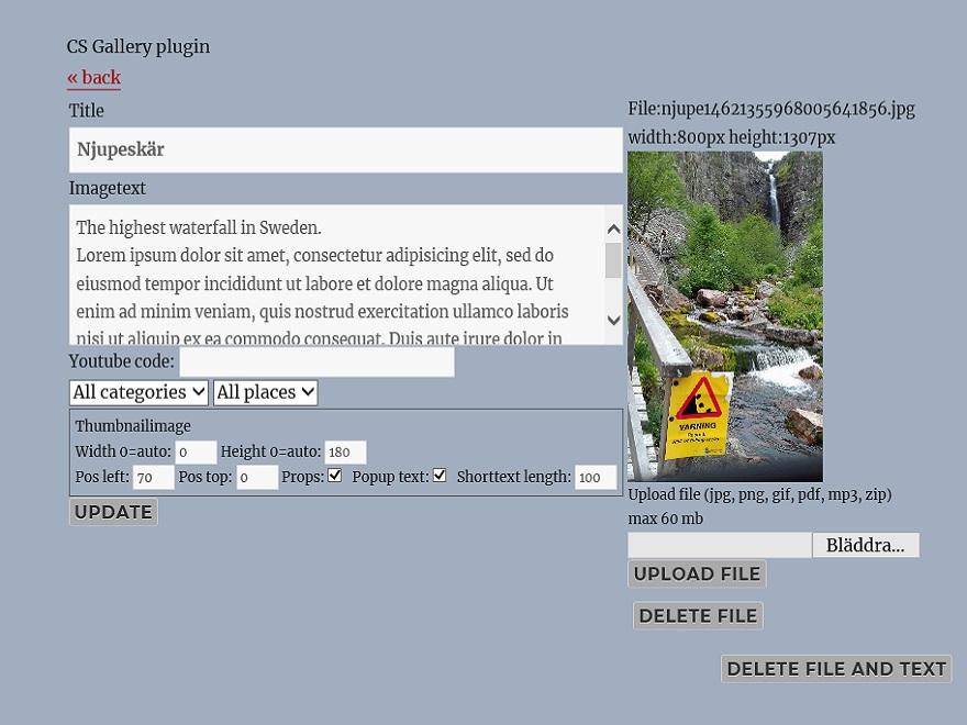 Upload files and edit descriptions.