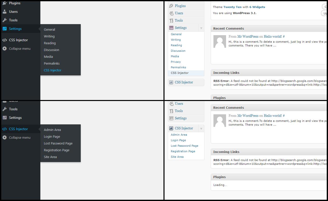 Dashboard CSS configuration (Desktop, Screen resolution: 1366x768, WP Version: 4.8.1).