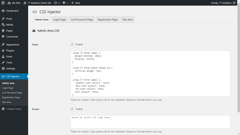 Dashboard CSS configuration (Desktop, Screen resolution: 1366x768, WP Version: 3.1).