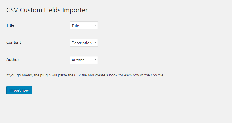 Step 2: match selected custom post's fields with CSV file columns.