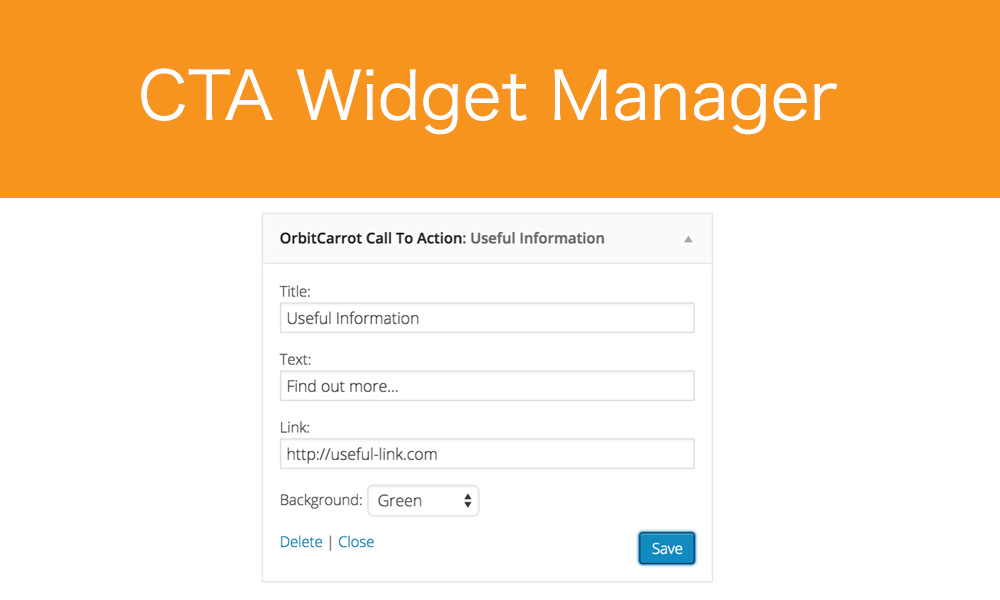 Back-end: Once added to the Sidebar, you can enter the details of your CTA.