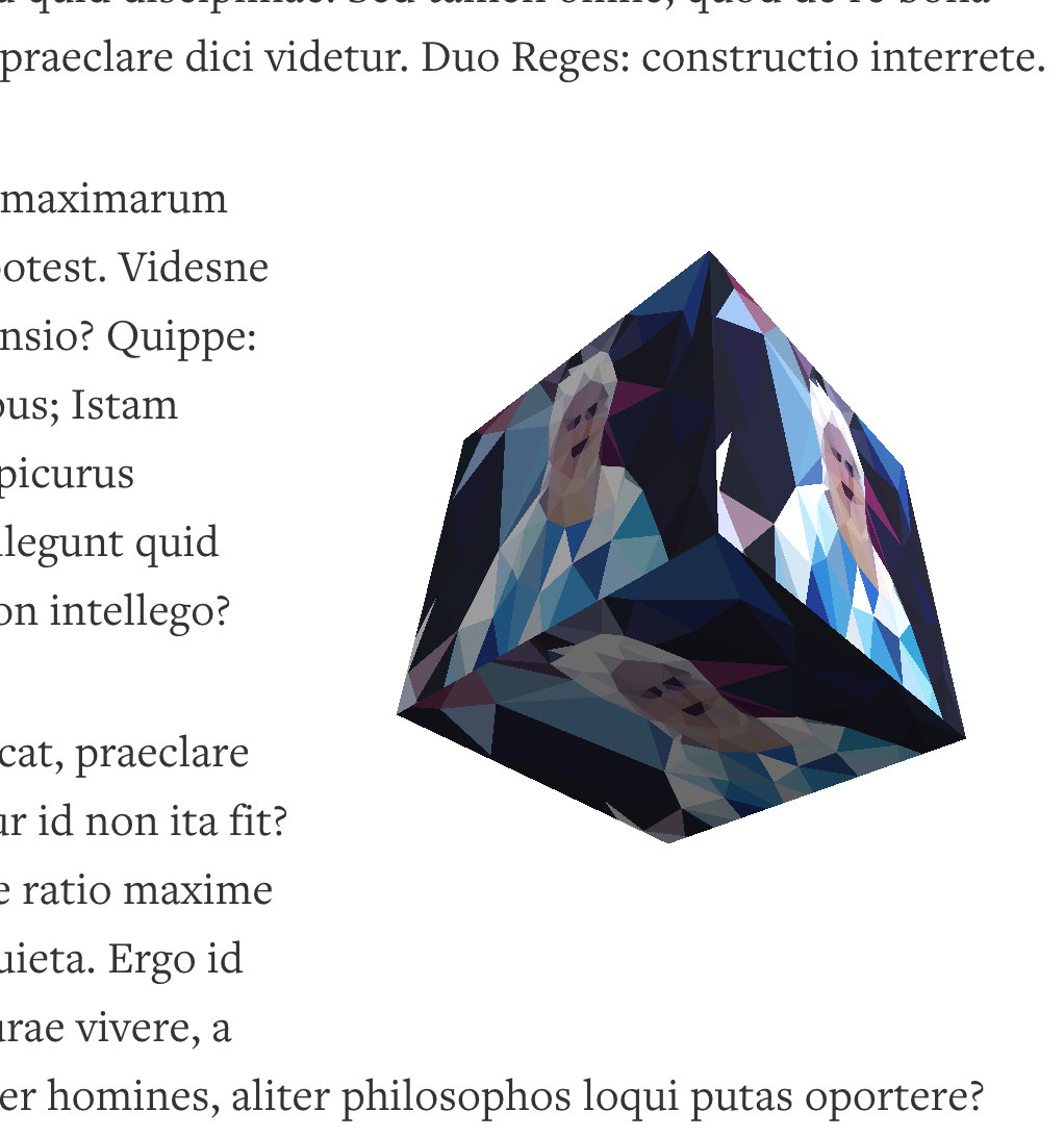 The cube aligned right with content.
