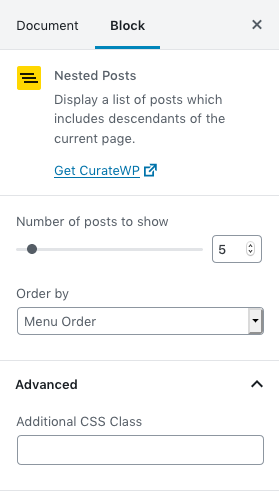 Configuration options available in the Gutenberg block.