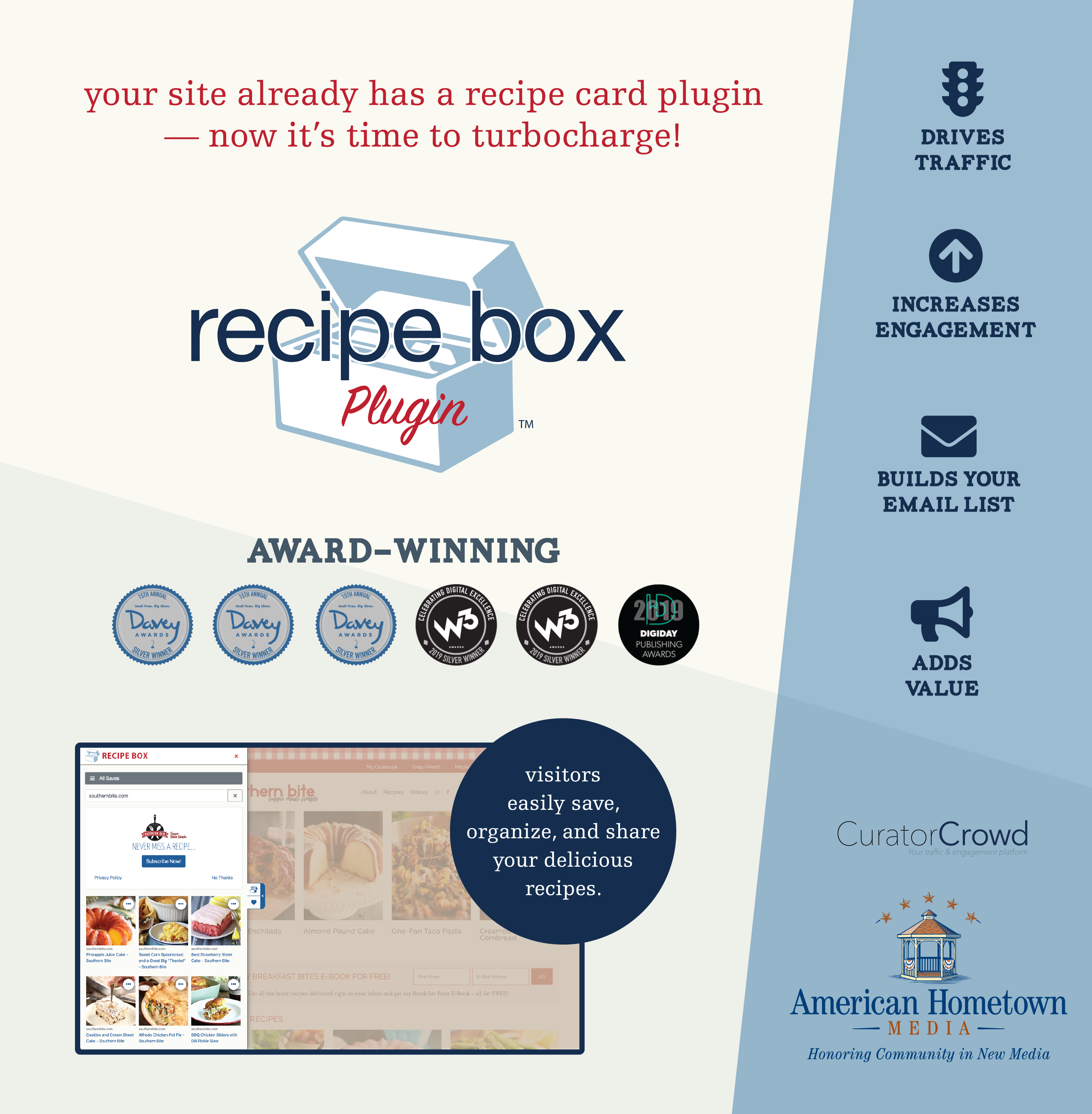 The Recipe Box Plugin™ slides in/out without leaving your site.