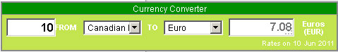 Generic currency calculator - horizontal layout and green colour selection