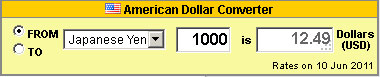 US Dollar currency calculator - horizontal layout and gold colour selection