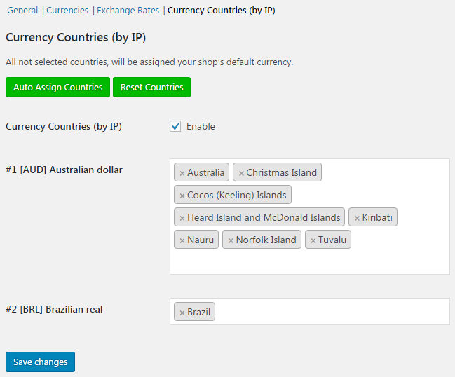 Currency Switcher for WooCommerce - Currency Countries (by IP).