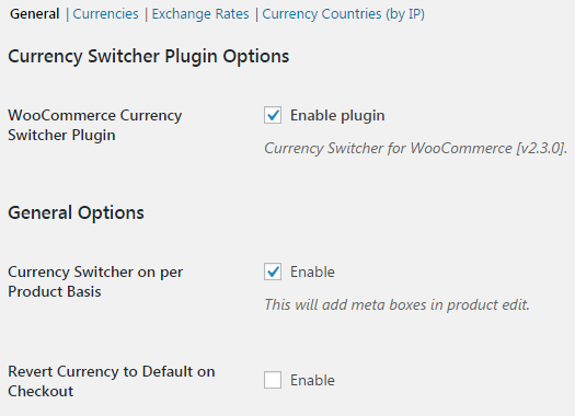 Currency Switcher for WooCommerce - General.